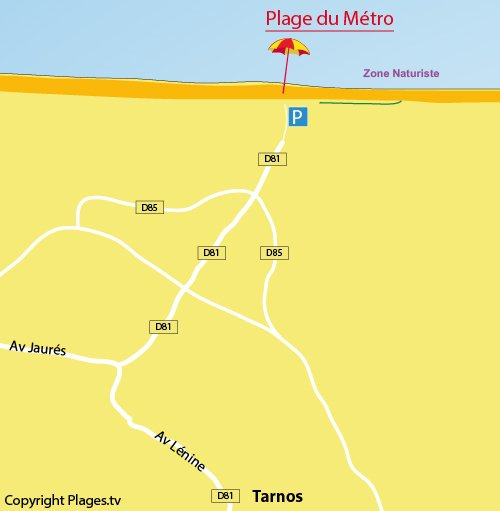Carte de la plage du Métro à Tarnos dans les Landes