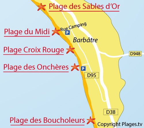 Map of Midi Beach in Noirmoutier