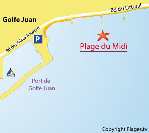 Carte de la plage du Midi à Golfe Juan
