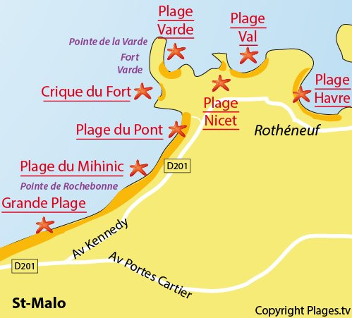 Map of the Minihic Beach in St Malo