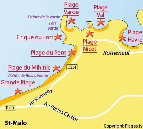 Mappa della Spiaggia del Mihinic a Saint Malo