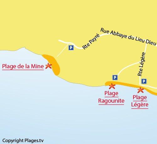 Map of Mine Beach in Jard sur Mer
