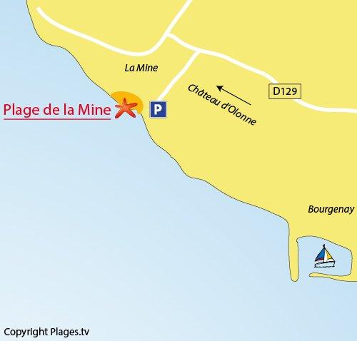 Plan de la plage de la Mine à Talmont St Hilaire