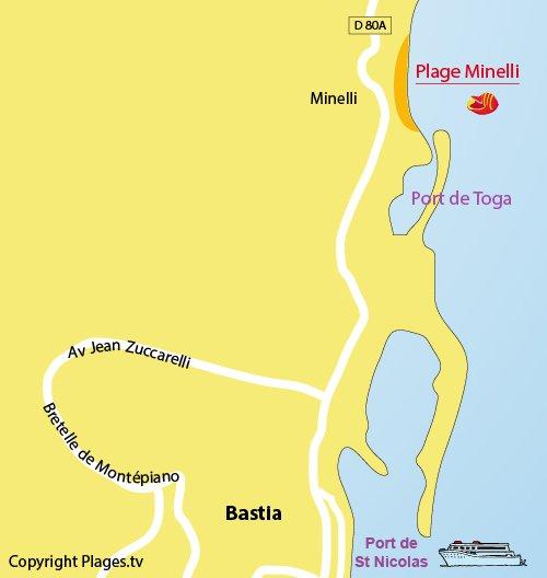 Carte de la plage de Minelli à Bastia