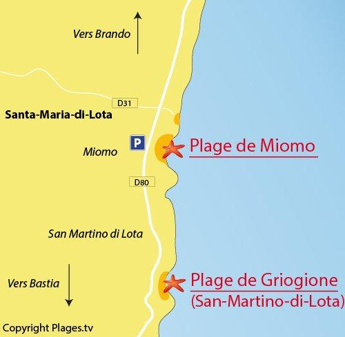 Mappa della Spiaggia di Miomo in Corsica