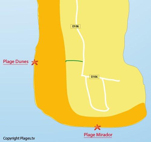 Plan de la plage du Mirador du Cap Ferret