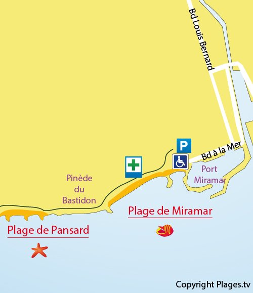 Map of Miramar Beach in La Londe les Maures