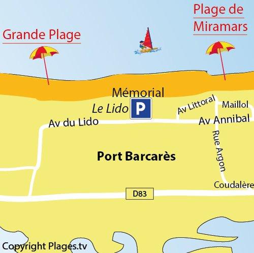 Map of Miramars Beach in Port Barcarès