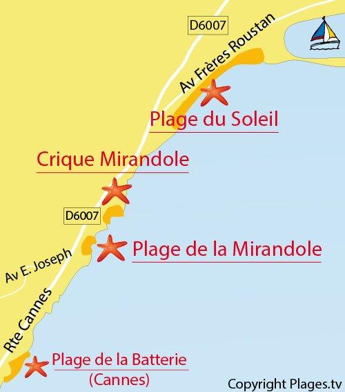 Carte de la plage de la Mirandole à Golfe Juan Vallauris