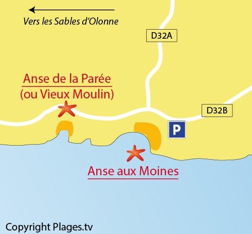 Map of Moines Beach in Château d'Olonne