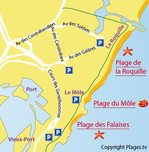 Map of the Mole beach in Cape d'Agde in France