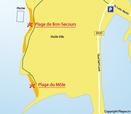 Map of the Mole Beach in St Malo