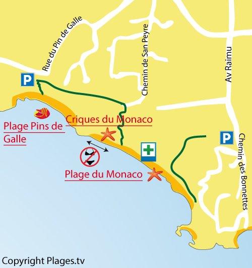 Mappa della spiaggia  Monaco del Pradet