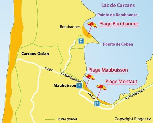 Carte de la plage de Montaut au lac de Carcans en Gironde