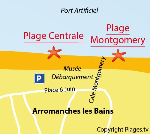 Map of Montgomery Beach in Arromanches