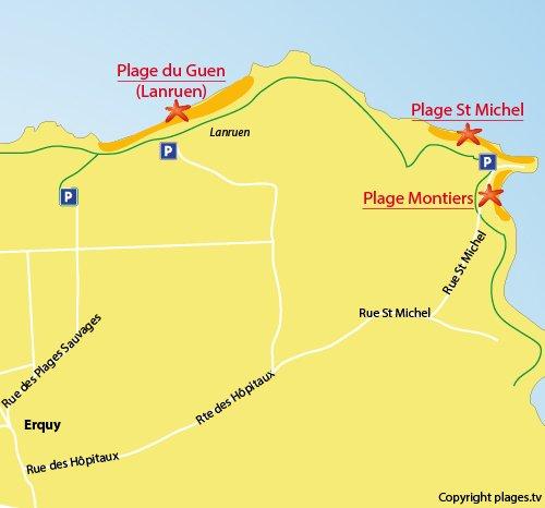 Carte des plages des Montiers à Erquy