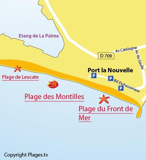 Carte de la plage des Montilles à Port la Nouvelle