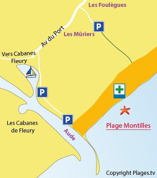 Mappa della Spiaggia Les Montilles a Vendres