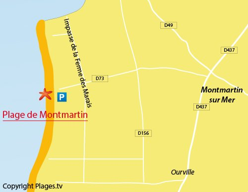 Map of Montmartin sur Mer beach in France