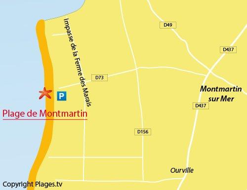 Carte de la plage de Montmartin sur Mer