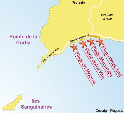 Carte de la plage Moorea à Ajaccio