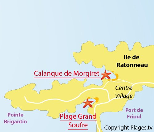 Map of Morgiret calanque in Frioul - Marseille