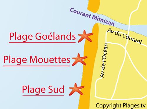 Carte de la plage des Mouettes à Mimizan