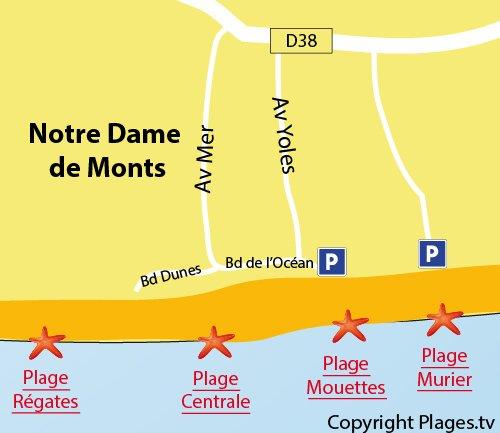Map of Mouettes Beach in Notre Dame de Monts