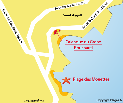 Map of the Mouettes Beach in Saint Aygulf