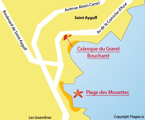 Karte Strand Mouettes von St Aygulf