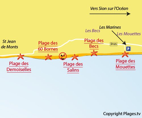 Map of Mouettes Beach in St Hilaire de Riez