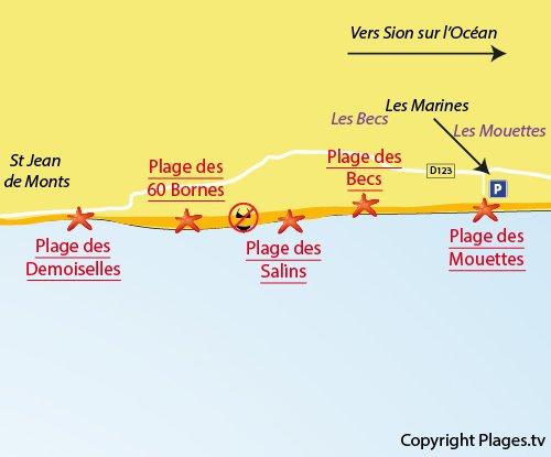Plan de la plage des Mouettes à St Hilaire de Riez