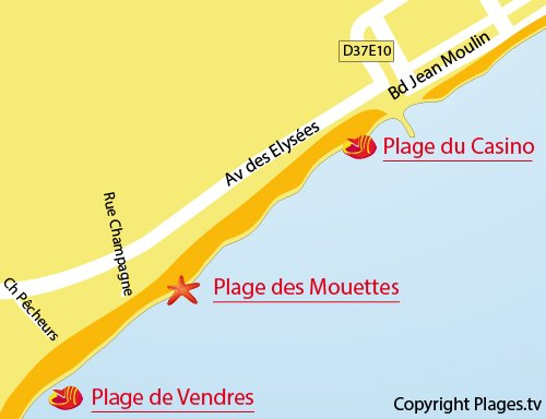 Mappa della Spiaggia dei Gabbiani - Valras
