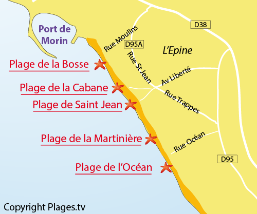Map of the Moulin de la Bosse beach in Noirmoutier