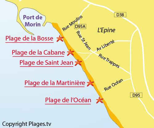 carte de la plage du Moulin de la Bosse à Noirmoutier