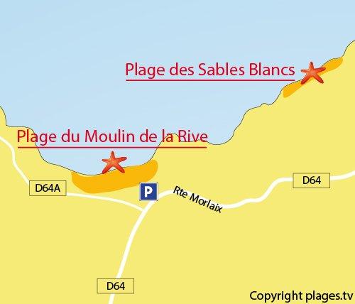 Carte de la plage du Moulin de la Rive à Locquirec