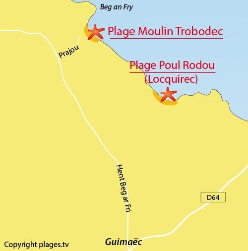 Carte de la plage du Moulin de Trobodec - Guimaec