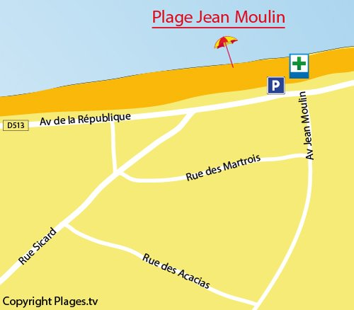 Map of Jean Moulin Beach in Villers sur Mer
