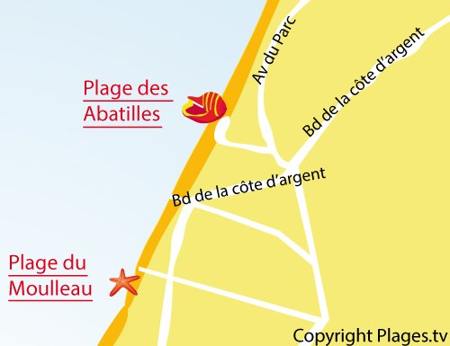 Map of Moulleau beach in Arcachon