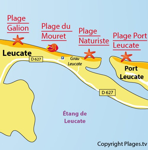 Map of Mouret Beach in Leucate