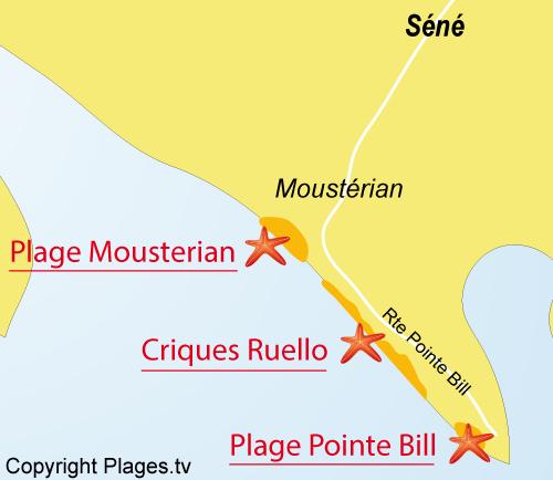 Localisation de la plage du Mousterian à Séné