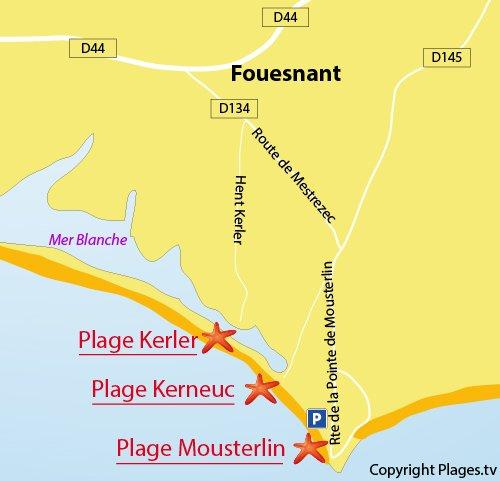 Carte de la plage de Mousterlin à Fouesnant