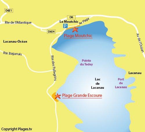 Plan de la plage de Moutchic à Lacanau