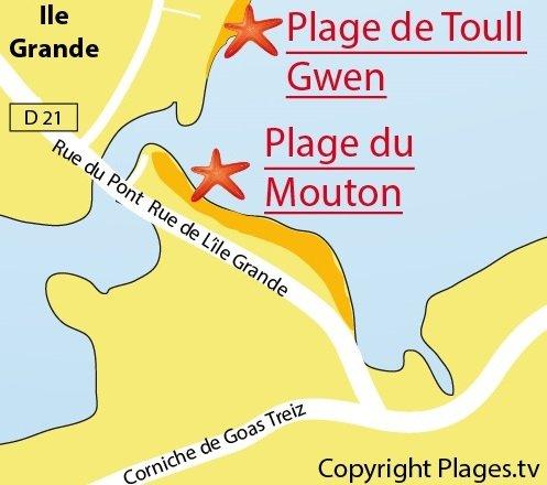Plan de la plage à l'entrée de l'Ile Grande à Pleumeur Bodou