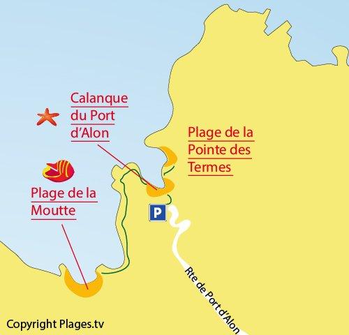Plan de la plage de la Moutte à St Cyr sur Mer