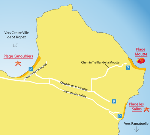 Map of Moutte Beach in Saint Tropez - France