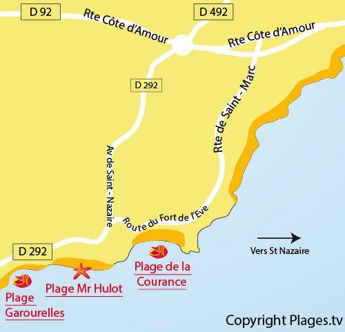 Carte de la plage de Mr Hulot de St Marc sur Mer