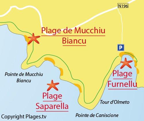 Mappa della Spiaggia di Mucchiu Biancu - Corsica