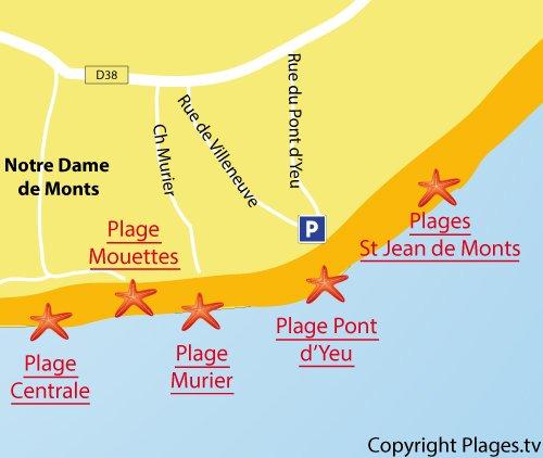 Mappa della Spiaggia del Murier a Notre Dame de Monts