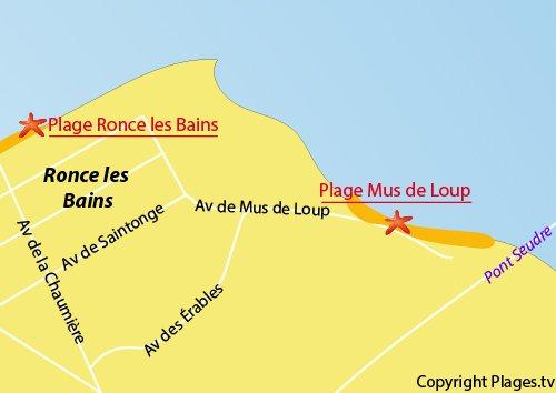 Carte de la plage du Mus de Loup à La Tremblade